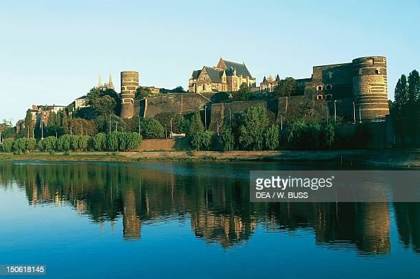 Chateau d'Angers on the Marne River, dating from the 13th century, Loire Valley . France.