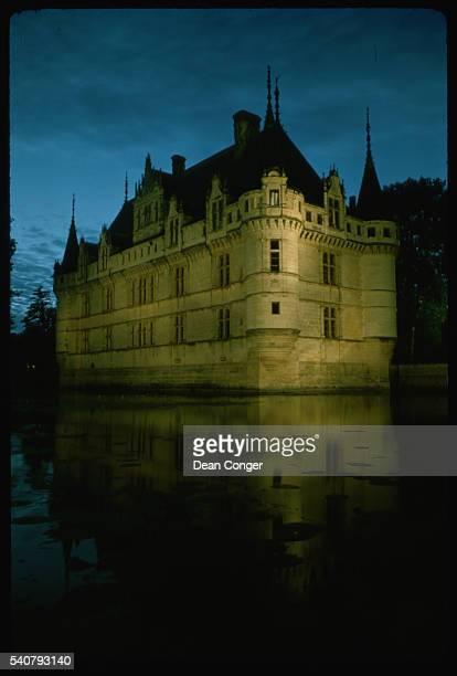Chateau d'AzayleRideau Lit at Night