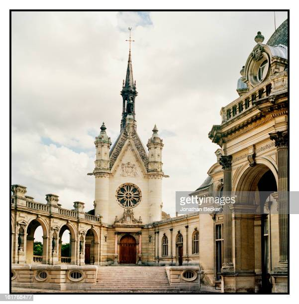 Chateau de Chantillys chapel facade is photographed for Vanity Fair Magazine on June 11 2011 in Chantilly France The nearperfect symmetry of the...