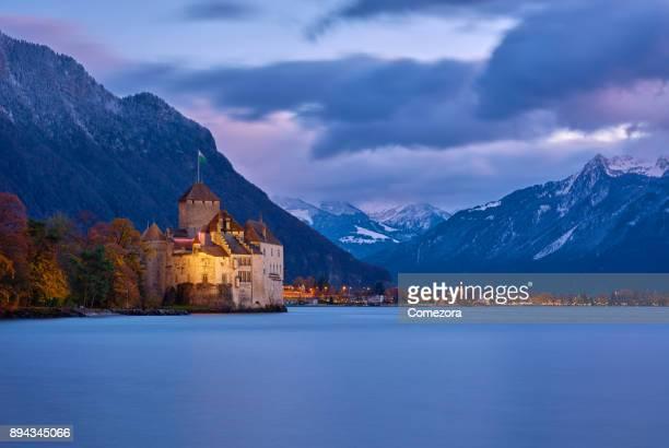 Chateau De Chillon at Dusk, Geneva Lake, Montreux, Switzerland