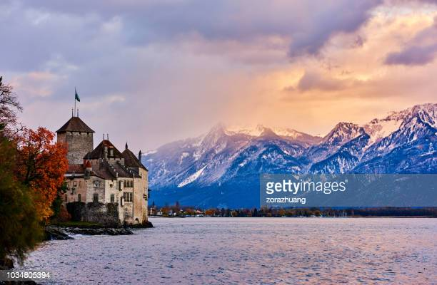 chateau de chillon, geneva lake, montreux, switzerland - lausanne stock photos and pictures
