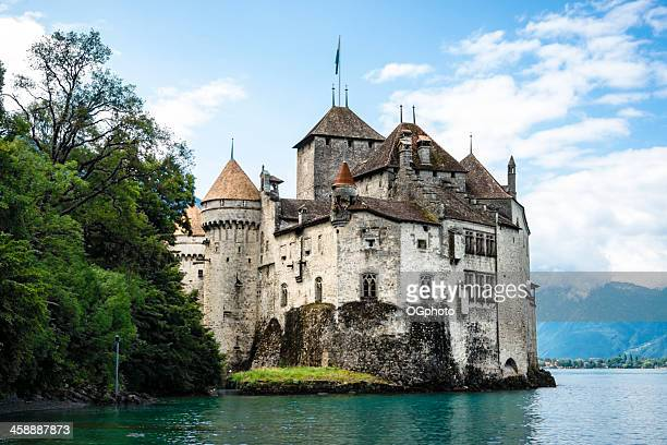 chateau de chillon on the shore of lake geneva,switzerland - ogphoto stock pictures, royalty-free photos & images