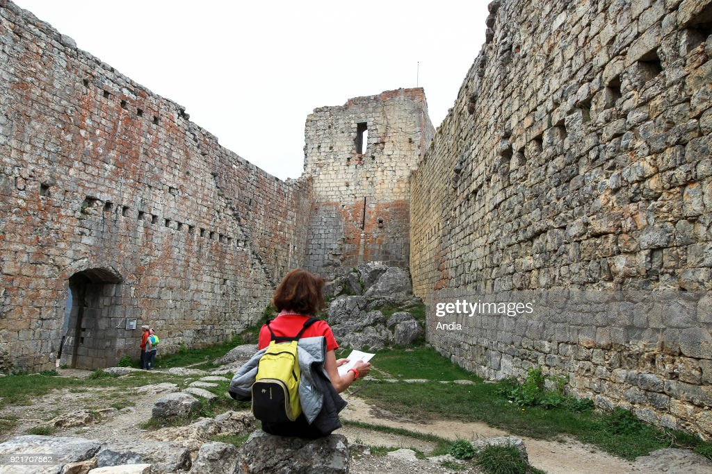 Chateau de Montsegur, Cathar fortress, castle, registered as a National Historic Landmark (French 'Monument Historique').