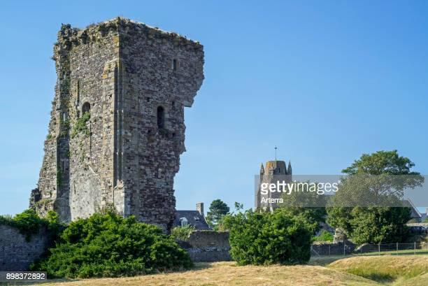 Chateau de Regneville ruined 14th century castle at RegnevillesurMer Manche Coutances Normandy France