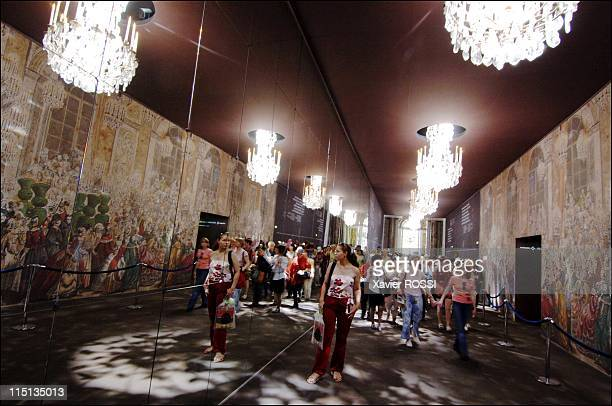 Chateau de Versailles restoring the famed Galerie des Glaces in Versailles France on May 30 2005 Under the scaffolding used as a working station for...
