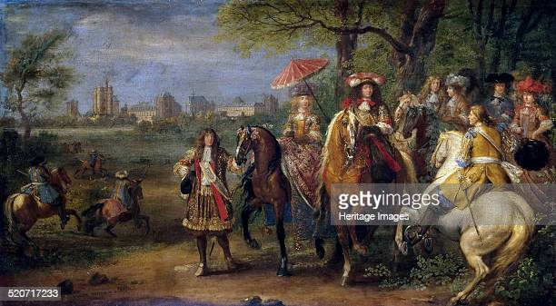 Chateau de Vincennes with Louis XIV and Marie Therese with their Court in 1669. Found in the collection of Musée de l'Histoire de France, Château de...