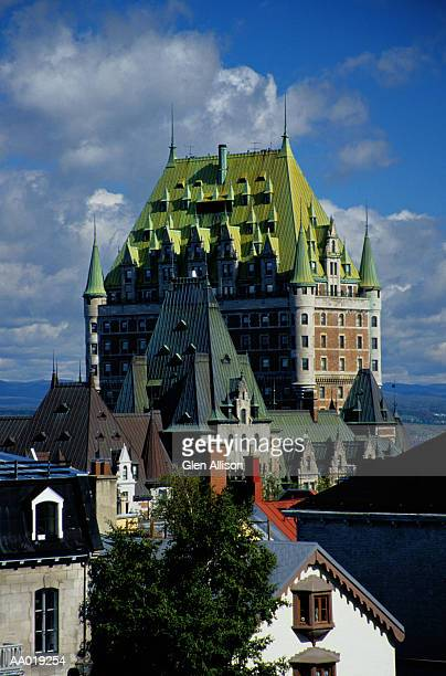 chateau frontenac and roofs in quebec city - chateau frontenac hotel stock pictures, royalty-free photos & images