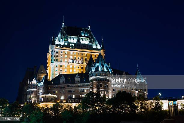 chateau frontenac at night, quebec city, canada - chateau frontenac hotel stock pictures, royalty-free photos & images