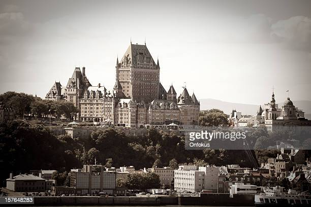 chateau frontenac from levis, quebec city, canada (sepia toned) - chateau frontenac hotel stock pictures, royalty-free photos & images