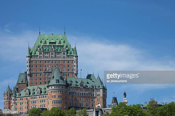 Chateau Frontenac Hotel against blue sky, Quebec City, Quebec, Canada