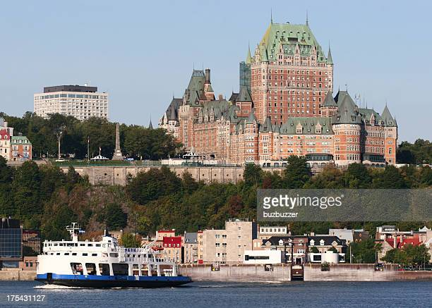chateau frontenac in old quebec city - ferry stock pictures, royalty-free photos & images