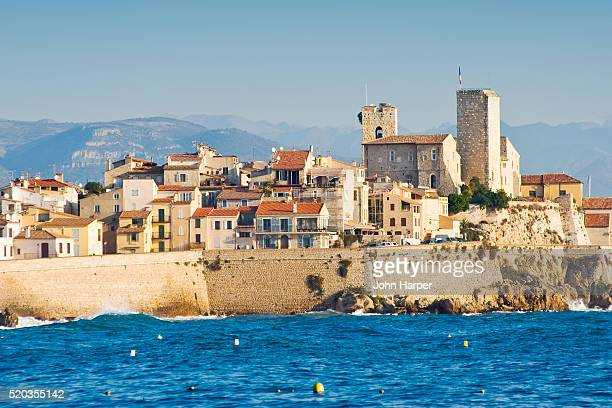 chateau grimaldi in antibes on the cote d'azur - antibes stock photos and pictures