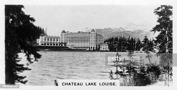 Chateau Lake Louise Alberta Canada c1920s Cigarette card produced by the Westminster Tobacco Co Ltd Canada 1st series