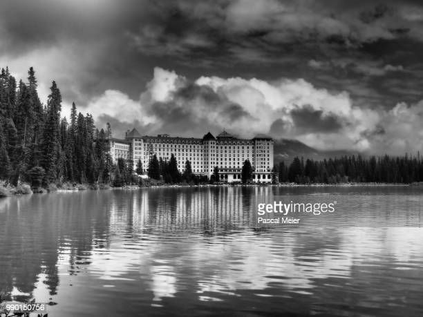 chateau lake louise, canada - chateau lake louise stock photos and pictures