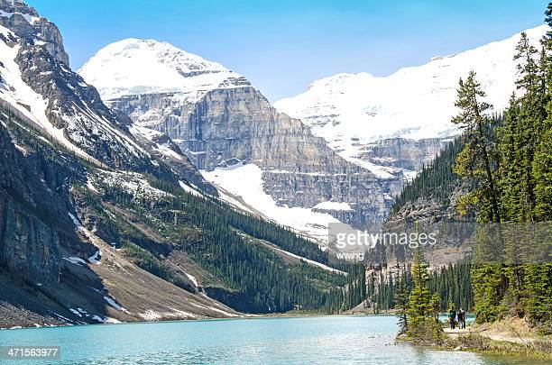 chateau lake louise trail - chateau lake louise stock photos and pictures