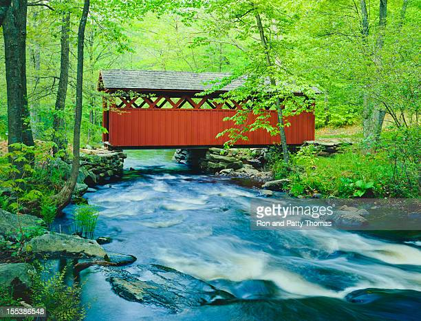 chatfield hollow covered bridge, connecticut - covered bridge stock photos and pictures