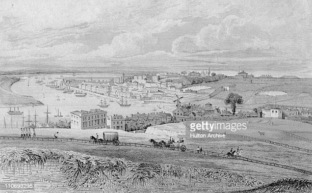 Chatham Dockyard from Fort Pitt Kent 1828 Drawn by G Shepherd Engraved by R Roffe