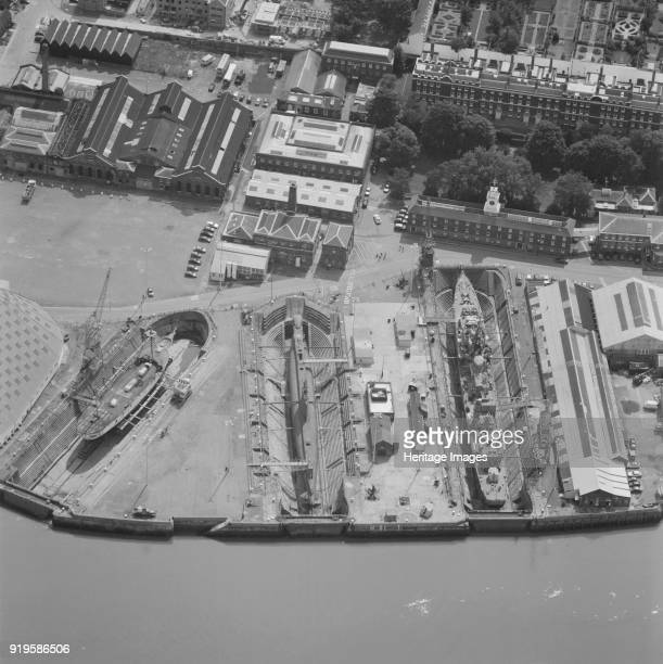 Chatham Historic Dockyard Kent 2001 This aerial photograph shows the dry docks at Chatham Dockyard beside the River Thames The site was first used in...