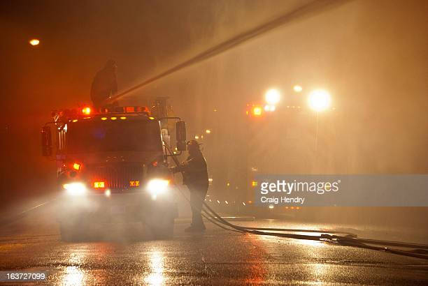 Chatham-Kent Fire, unit 16-11 dumping its monitor, with 16-13 in the background. Firefighters from three stations battled a massive blaze at Maris...