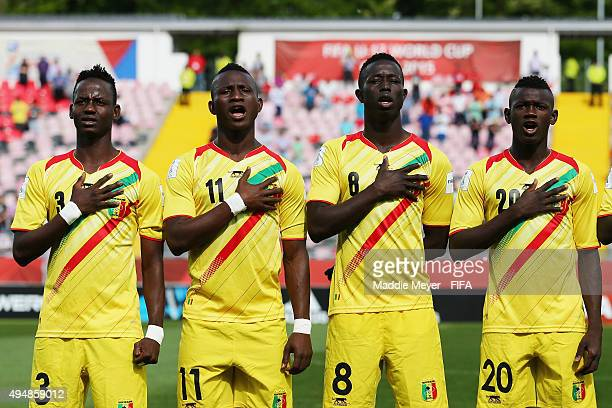 Chato of Mali, Boubacar Traore, Moussa Diakite and Sekou Koita stand for their national anthem during the FIFA U-17 World Cup Chile 2015 Round of 16...
