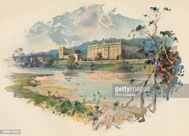 Chatsworth from the Derwent' circa 1890 After a photograph of James Valentine and Son From Cassell's History of England by John Cassell [A W Cowan...
