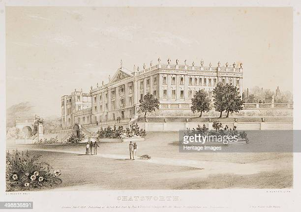 Chatsworth House Derbyshire 1839 The first house at Chatsworth near Bakewell in Derbyshire was built by Bess of Hardwick and her second husband Sir...