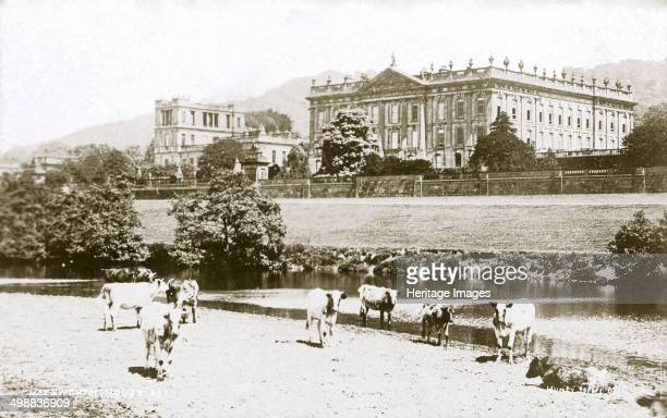 Chatsworth House Derbyshire c1916 The first house at Chatsworth near Bakewell in Derbyshire was built by Bess of Hardwick and her second husband Sir...