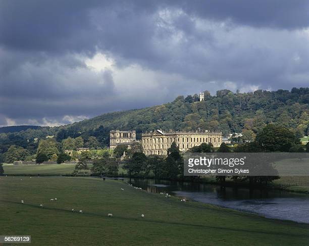 Chatsworth House in Derbyshire 1990s The Hunting Tower can be seen atop the hill behind