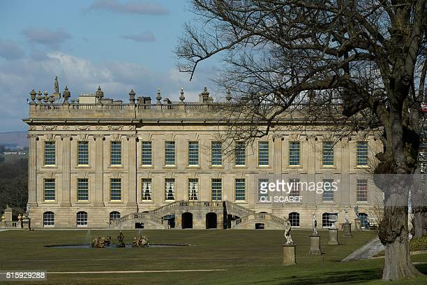 Chatsworth House near Bakewell northern England is pictured on March 16 2016 Chatsworth House will reopen to the public on March 19 following its...