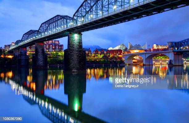 chattanooga downtown skyline under the walnut street bridge - tennessee stock pictures, royalty-free photos & images