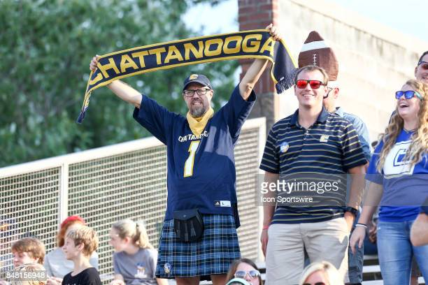 Chattanooga Mocs fan in the stands during the first half of the college football game between UT Martin Skyhawks and the Chattanooga Mocs on...