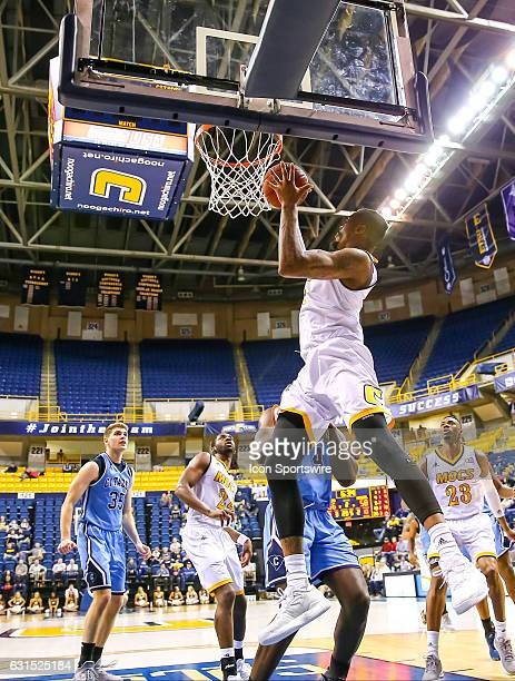 Chattanooga Mocs forward Justin Tuoyo drives to the basket during the second half of the NCAA basketball game between The Citadel Bulldogs and the UT...