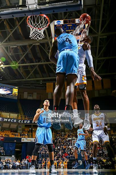 Chattanooga Mocs forward Tre' McLean drives to the basket during the first half of the NCAA basketball game between The Citadel Bulldogs and the UT...