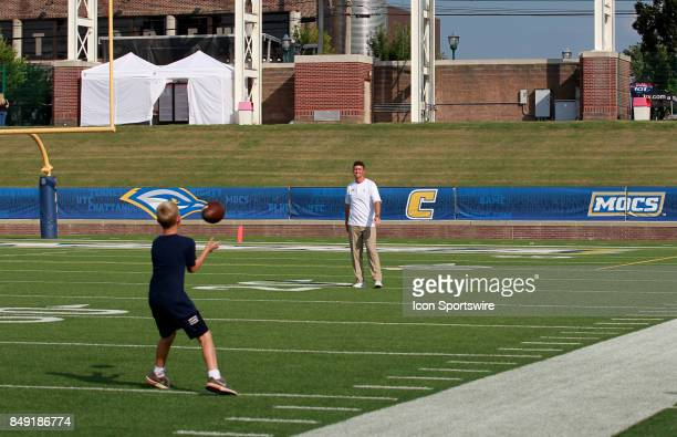 Chattanooga Mocs head coach Tom Arth and his son spending some time before kick off The Tennessee Martin Skyhawks defeated the Chattanooga Mocs 217...