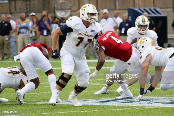 Chattanooga Mocs offensive lineman Taylor Helton during the FCS Kickoff Classic between the Chattanooga Mocs and the Jacksonville State Gamecocks on...