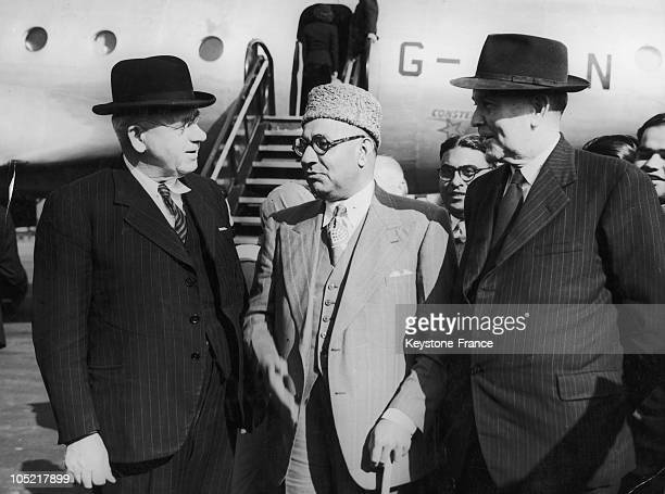 Chattin Between Prime Ministers On Arrival At London Airport For Commonwealth Conference Peter Frazer Liaquat Ali Khan And JB Chifley