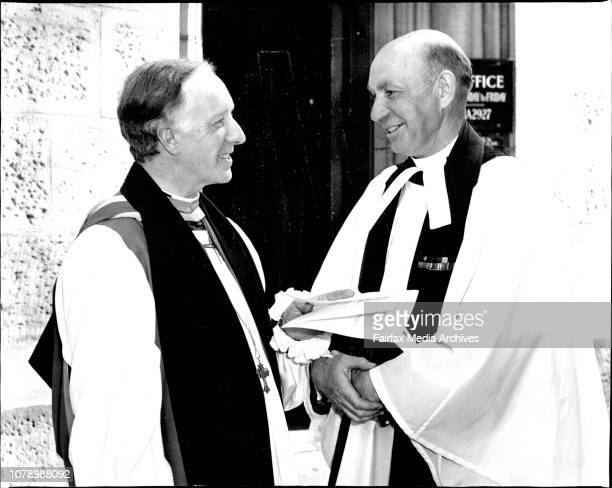 Rt Rev A W Goodwin Hudson and Very Rev E A PittStart of the 3rd session of the 32nd Synod at Chapter House St Andrew's after a Synod Service in the...