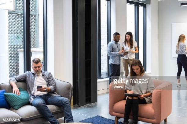 chatting on a break - surfing the net stock photos and pictures