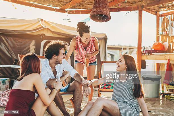 Chatting on the beach camp