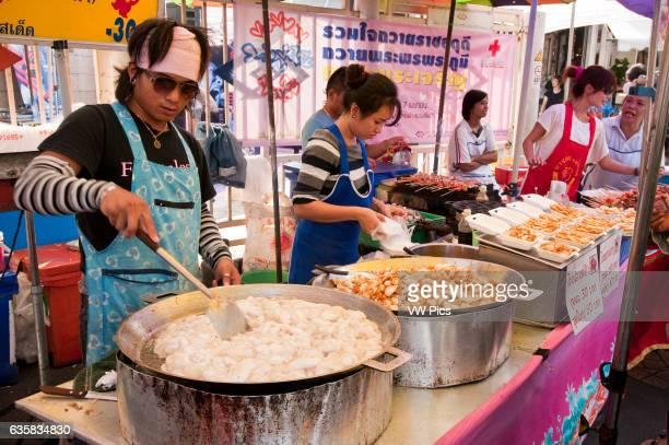 Chatuchak Weekend Market food vendor stall Bangkok Thailand