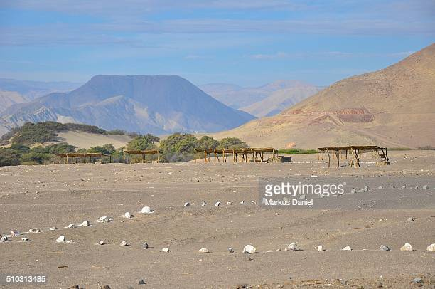 Chauchilla Cemetery with Andes Mountains, Nazca, P