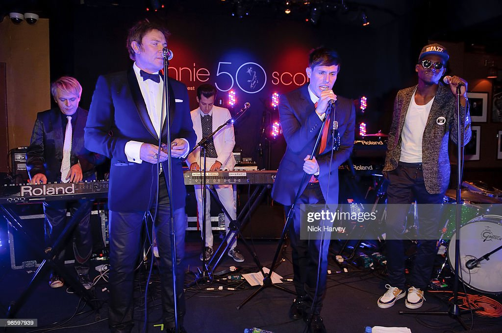 Chauffeur with Mark Ronson, Sam Sparro, Simon Le Bon and Nick Rhodes performs at the afterparty following the opening of Gucci's pop-up sneaker store, at Ronnie Scott's on April 21, 2010 in London, England.