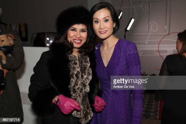 Chaugiang Thi Nguyen and Ida Liu attend Niki Shaokao Cheng's Annual Holiday Party at Calligaris SoHo on December 13 2017 in New York City