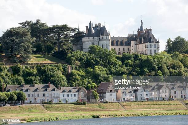 Chaumont Sur Loire France The riverside town and Chateau Chamont which overlooks the River Loire