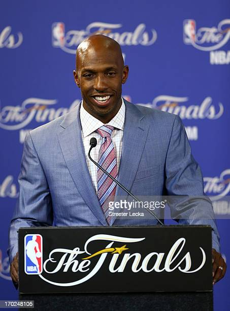 Chauncey Billups addresses the media after winning the TwymanStokes Teammate of the Year Award in honor of Jack Twyman and Maurice Stokes before Game...