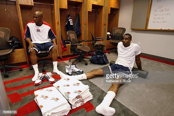 Chauncey Billups and Amare Stoudemire of the USA Men's Senior National Team relax prior to the game against Puerto Rico during the second round of...