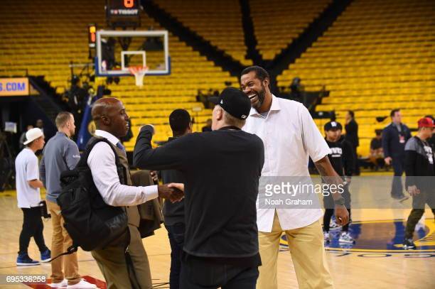 Chauncey Billups and Rasheed Wallace are seen before the game between the Golden State Warriors and the Cleveland Cavaliers in Game Five of the 2017...