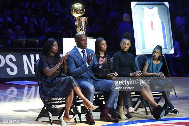 Chauncey Billups former Detroit Pistons player jersey retired by the Detroit Pistons during the game against the Denver Nuggets on February 10 2016...