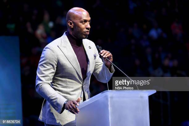 Chauncey Billups honors Flip Saunders during the game between the Minnesota Timberwolves and the Los Angeles Lakers on February 15 2018 at Target...