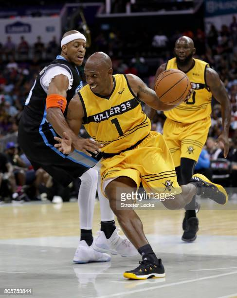 Chauncey Billups of Killer 3s drives the ball against Jerome Williams of Power during week two of the BIG3 three on three basketball league at...